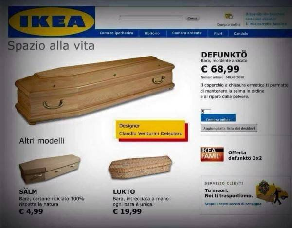 Ikea vende bare da morto ma uno scherzo for Casse da morto ikea