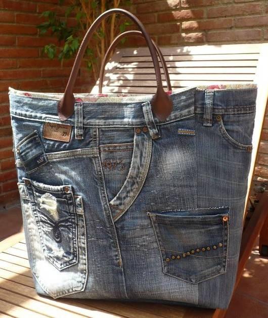 Come riciclare creativamente vecchi jeans for Borse fai da te jeans