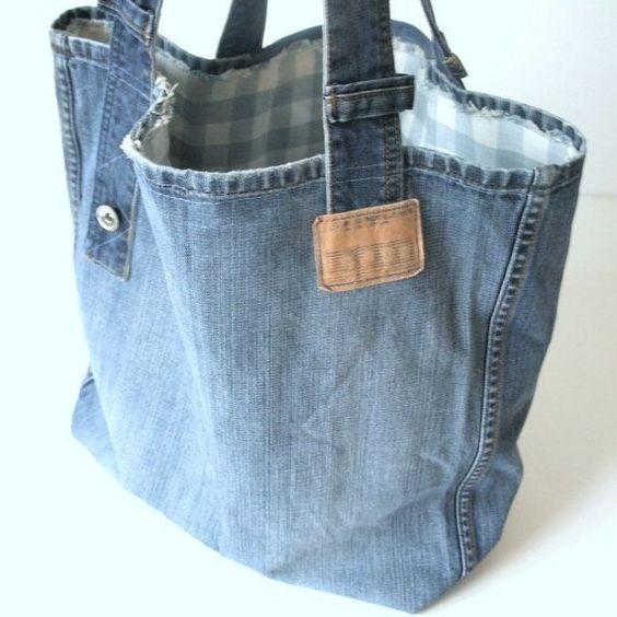 borsa con vecchi jeans