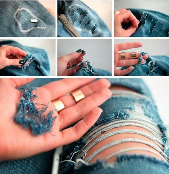 lavorazione strappo su jeans