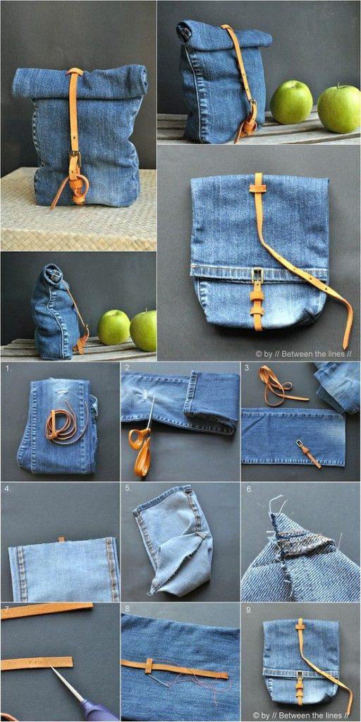 zaino in jeans fai da te